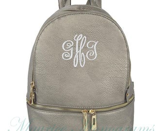 Personalized Pewter Soft Textured Synthetic Leather Backpack Purse FREE Monogram