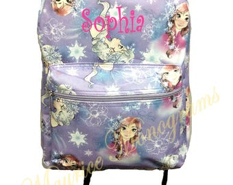 Personalized Frozen Elsa and Anna Canvas School Backpack  FREE Monogram