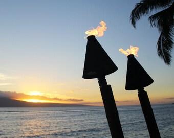 Hawaii Tiki Torches Photo, Tiki Torch Canvas, Tiki Torch Art, Tiki Torch Print, Hawaii Sunset, Maui photo, Maui canvas, Tropical Photo
