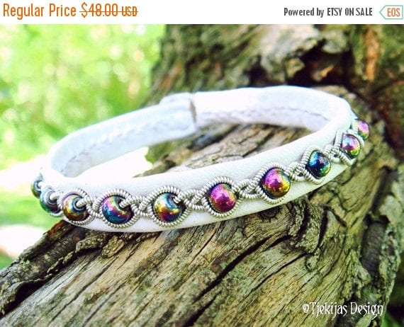 Genuine Swedish Lapland Sami Bracelet GJALL with Braided Rainbow Hematite beads on White Reindeer Leather - Handcrafted High Street Fashion