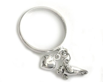 I Heart Manatees - Sterling Silver Manatee Lover Charm Dangle Ring