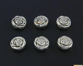 50Pcs Antique Silver Rose Flower Bead Rose Charm Rose Bracelet Bead Flower Pendant 10mm (PND1517)