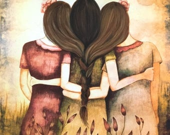 Three sisters art  print 2 brown and dark brown