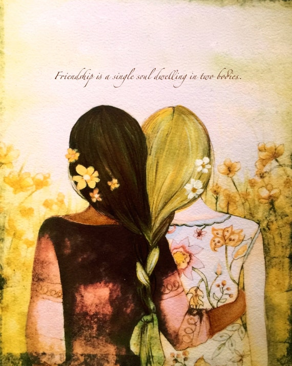 Blonde and brown braided hair  sisters best friends art print( brown skin)