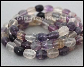 "16"" Strand 10mm Rainbow FLUORITE - 10x8mm Purple Lavender Tones Oval Natural Gemstone Bead Grade B - Instant Ship - DIY Jewelry Usa - 6837"