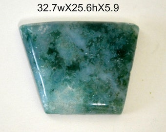 Moss agate cabochon.  freeform shape blue green. 32.7 x 25 x 5.9
