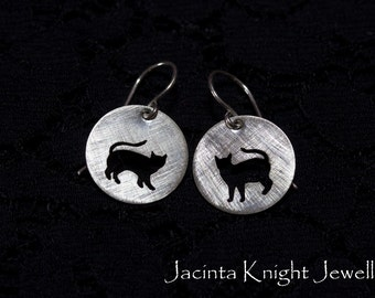 Sterling silver cat earrings earrings
