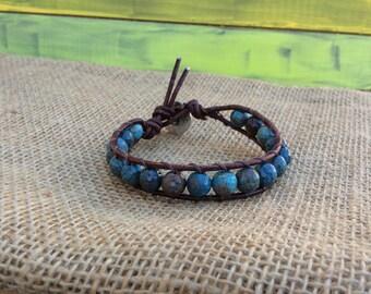 Single leather wrap bracelet, Boho Style Bracelet