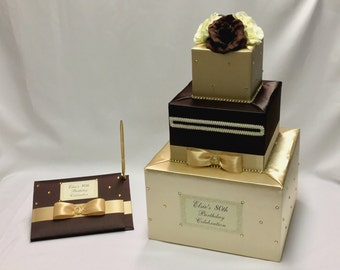 Champagne and Chocolate Brown Wedding Card Box and matching Guest Book/Pen