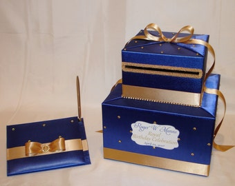 Royal Theme Card Box and matching Guest Book with pen-Royal Blue and Gold