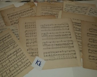 """K 25 damaged tattered torn music book pages lot Large 10x13"""" and 9x12"""" antique classical 1900's paper supplies vintage ephemera art scraps"""