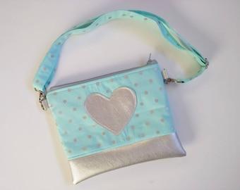 Ready-to-ship! Aqua and silver polka dot crossbody purse for girls