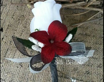 RESERVED for Mechelle White Rose Boutonniere  red black silver Groom groomsman bridal silk wedding flowers father best man x 5