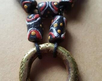 Necklace, Antique Brass ring pendant, Yoruban money ring necklace, krobo beads, hemp necklace, money ring