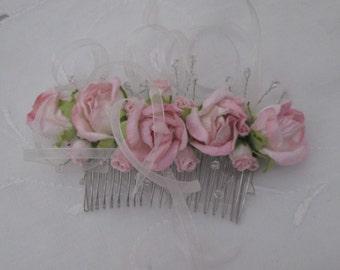 Hair comb pink rosebud beads ribbons silver bridal prom