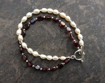 Garnet and Pearl Bracelet with Sterling Silver Toggle Clasp Freshwater Pearl and Deep Red Faceted Garnet Bracelet Beautiful Gift for Her