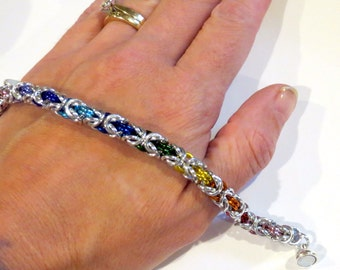 PawInspiredCreations/Rainbow Byzantine Weave Chainmaille bracelet/Gay Pride/LGBTQ