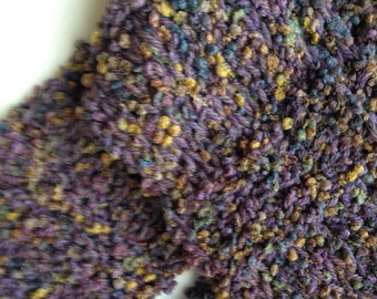 Scarf, Handknit Purple with Multicolor, Woolblend, One of a Kind