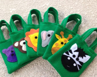SAFARI PARTY/felt party favor bags/ for boys and girls/Set of 6 felt bags/ jungle