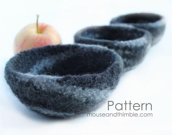 Five Felted Wool Nesting Bowls Crochet & Felting PATTERN - PDF 2545