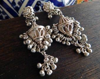 Indian Jingle BELL Silver Chandelier Earrings; Boho, Gypsy Jewellery; Stud Earrings; Delicate Cocktail Formal Cascade Statement Earrings.