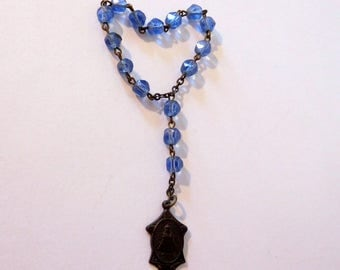 Vintage Infant JESUS of PRAGUE Chaplet / Sacred Heart / Blue Glass Faceted Prayer Beads - Dark Medal / Catholic Rosary