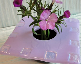 Flower Vase, Dichroic Fused Glass Ikebana Vase, Light Purple Home Decor, Table Vase, Bud Vase, Gifts Under 50 Dollars, Gifts for Her for Him