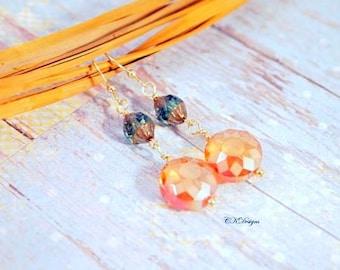 Orange Sun Earrings,Green Czech Earrings,  Summer Dangle Pierced or Clip on Earrings,  Git for Her,  Spring Earrings, Cute Pastel Earrings