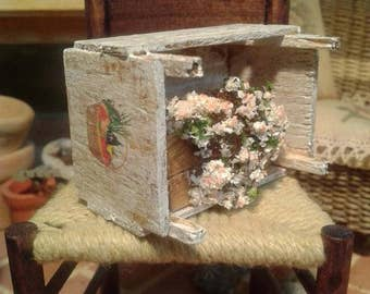 dollhouse miniature fruit crate with flowers
