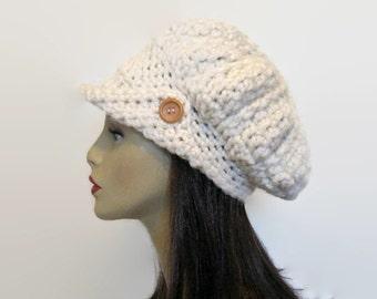 Cream Newsboy Hat Off White Newsboy Slouchy Newsboy Cream Crochet Hat with Visor Knit Newsboy Hat with Brim Crochet Cap with Brim beige hat