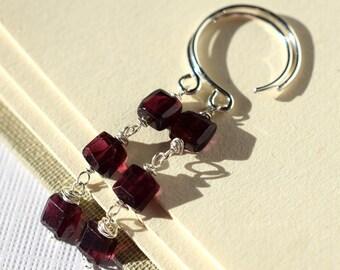 Garnet Earrings, Sterling Silver, Red Garnet, Long Dark Red Gemstone Three Tier Earrings, Silver Wire Wrapped, January Birthstone Jewelry
