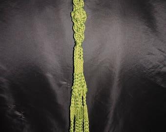 "Vintage Green Jute Macrame Plant Hanger 72"" Long Hanging Pot Holder Natural Wood Beads Hippie Boho 70s Retro Patio Porch"