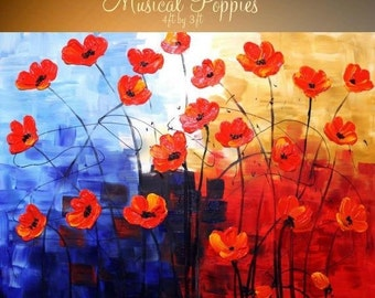 """SALE HUGE Oil Landscape painting Abstract Original Modern palette knife """" Musical Poppies"""" impasto painting by Nicolette Vaughan Horner"""