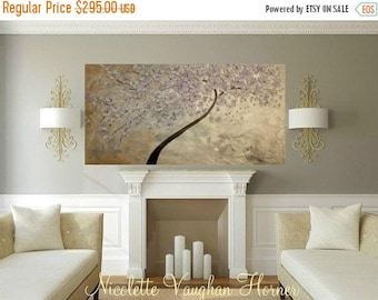 "SALE Mixed Media Oil Landscape gallery canvas Abstract Original 48"" palette knife Blossom Tree impasto painting by Nicolette Vaughan Horner"