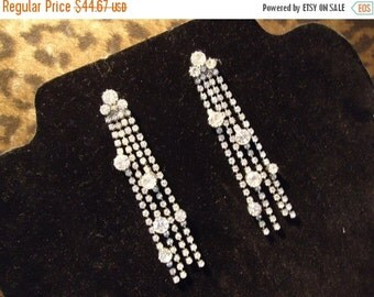 Now On Sale Vintage Rhinestone 1970's Earrings Old Hollywood Glam Black Tie Formal Glamour Girl Rockabilly Retro Jewelry