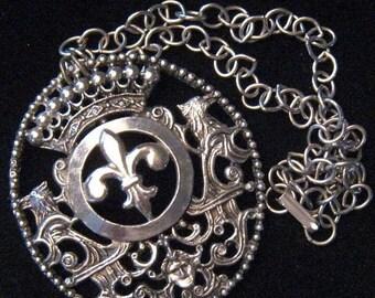 Now On Sale Vintage Dragon Necklace, Statement Fleur de lis Jewelry, Mid Century Collectibles,  Retro Runway Necklace, 1960's 1970's Jewelry