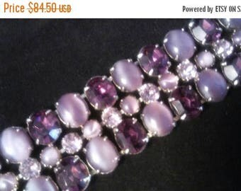 Now On Sale Vintage Rhinestone Bracelet, Purple & Lavender Chunky Rare Jewelry, Old Hollywood Glam, Mad Men Mod, Rockabilly Accessories