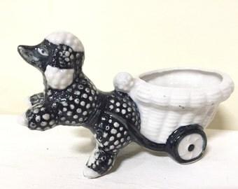 Vintage Poodle Planter - Black Poodle Figurine - White Poodle Flower Pot - Standard Poodle Dog Dish
