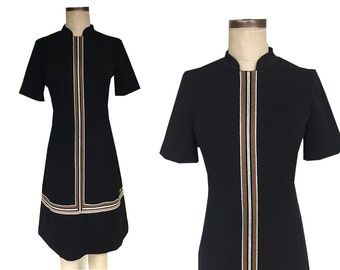 60's EDITH FLAGG Mod Black Striped Chic Boxy Retro Yarn Dress