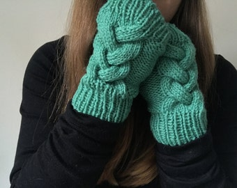 Knit Gloves - Womens Gloves - Womens Knit Gloves - Knit Fingerless Gloves -  Wool - Cable Knit - Texting Gloves - One Short Day Gloves