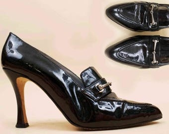 80s 90s Vtg Iconic HORSEBIT Black Patent Leather High Heels / Pointed Toe VERSACE Style Clueless Era 8 Eu 38.5