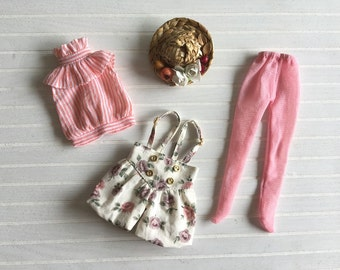 Girlish - Pink Stripes Flora Set for Blythe doll - dress / outfit