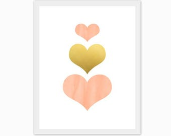 peach and gold hearts, print, baby girl's nursery art, children's room, watercolor, love, make it a set of 3, mix and match, custom colors