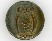 Humorous Vintage Picture Button ~ Sitting Owls Wearing Glasses ~ just under 5/8 inch 15mm ~ Pictorial Brass Metal Sewing Buttons