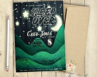 Sleep Over Invitation | Slumber Party Invitation | Boys Slumber Party Invitation | Birthday Party Invitation | PRINTABLE | Moon and Stars