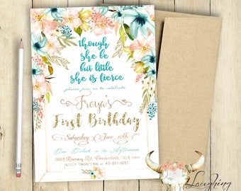 First Birthday Invitation She Be Little But She Is Fierce Invitation Shabby Chic First Birthday Turning One Sparkles Glitter Milestone