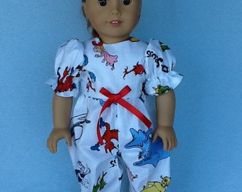 18 inch doll rompers. Fits American Girl Dolls.  Dr. Seuss novelty print.