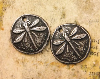 Dragonfly Charms - Handmade Rustic Pewter Jewelry Components