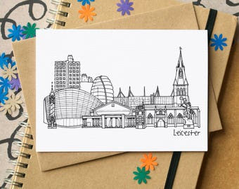 Leicester Landmarks Greetings Card - Leicester Skyline Art - Leicester Skyline Art - blank Leicester card - card for Leicesterite