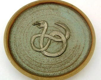 Vintage Stoneware and Pewter Celtic Snake Dish